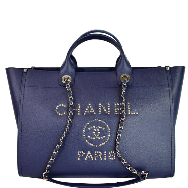 CHANEL Deauville Studded Caviar Tote Shoulder Bag Blue