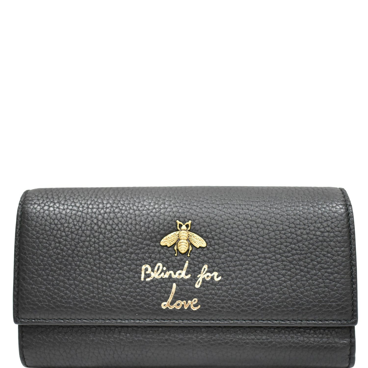 GUCCI Animalier Bee Blind For Love Leather Wallet Black 454070