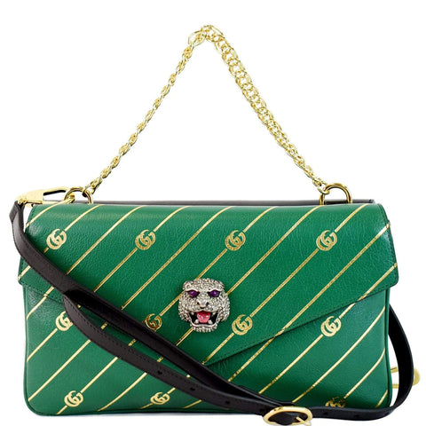 GUCCI Thiara Medium Double Smooth Leather Shoulder Bag Green/Black 524822