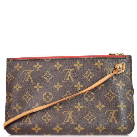 LOUIS VUITTON Pochette Wristlet Pouch Monogram Canvas Neverfull MM Brown