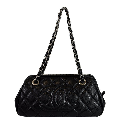 CHANEL Timeless CC Quilted Caviar Leather Small Chain Bowler Bag Black