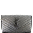 YVES SAINT LAURENT Monogram Grain De Poudre Chain Wallet Black