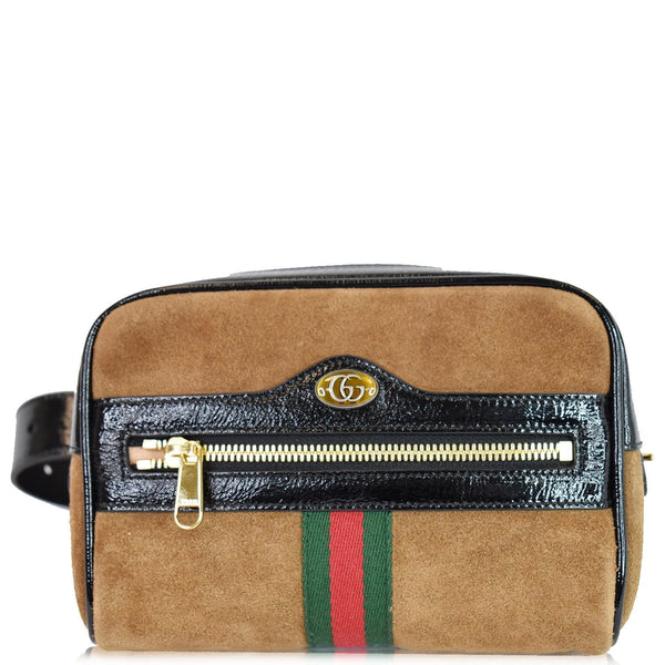 Gucci Ophidia Small Suede Web Belt Waist Bag Brown