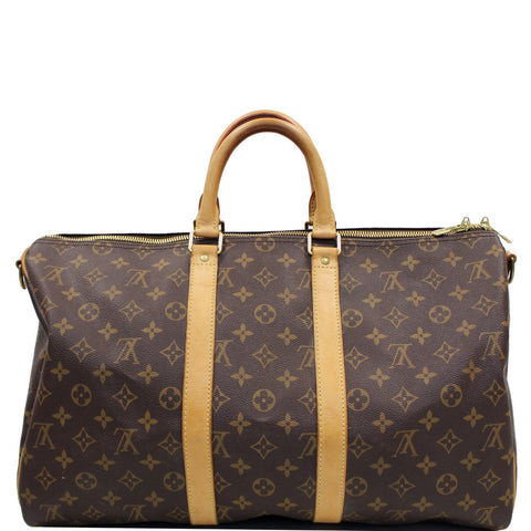 LOUIS VUITTON Keepall 45 Bandouliere  Monogram Canvas Travel Bag Brown