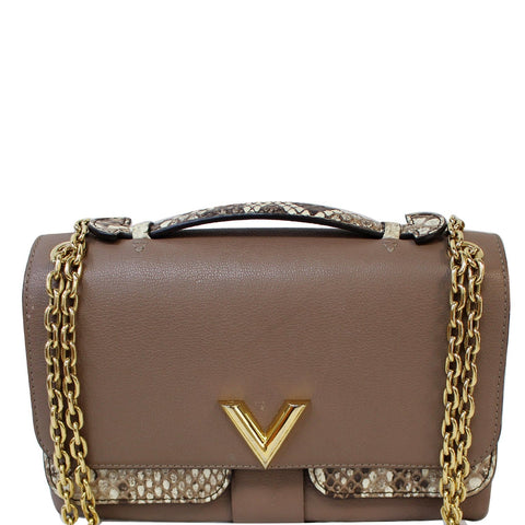 LOUIS VUITTON Python Very Chain Leather Shoulder Bag Taupe
