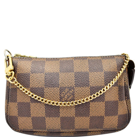 LOUIS VUITTON Mini Pochette Damier Ebene Pouch Brown