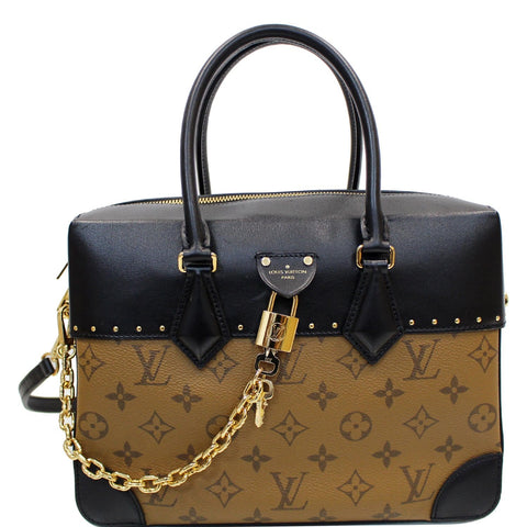 LOUIS VUITTON City Malle MM Reverse Monogram Shoulder Bag Black/Brown