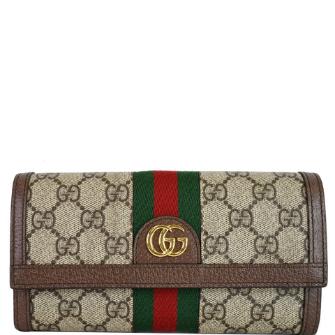 GUCCI Ophidia GG Continental Supreme Canvas Wallet Beige 523153