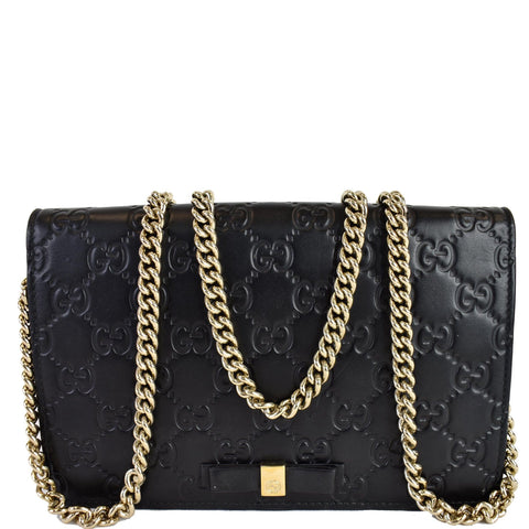 GUCCI Bow Guccissima Leather Chain Wallet Black 431408