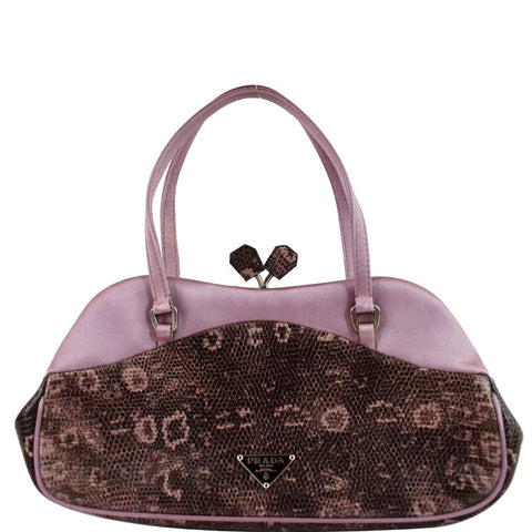 PRADA Sera Lizard Skin Satchel Bag Purple