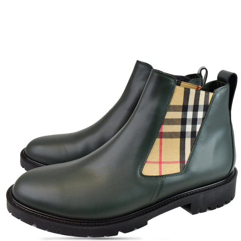 BURBERRY Vintage Check Detail Leather Chelsea Boots Black Size 12