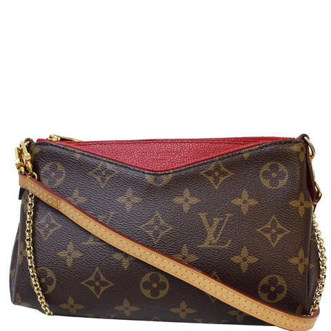 LOUIS VUITTON Pallas Monogram Canvas Clutch Crossbody Bag Brown