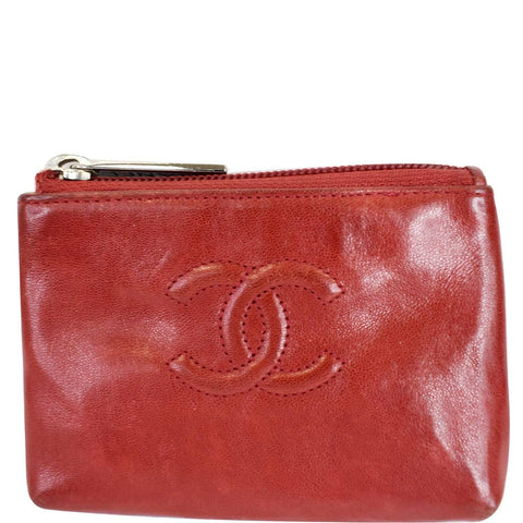 CHANEL CC Key Ring Lambskin Leather Coin Case Purse Red