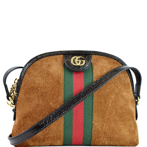 GUCCI Ophidia GG Small Suede Shoulder Bag Brown 499621