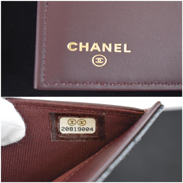 Chanel Large Flap Quilted Caviar Leather Wallet code tag