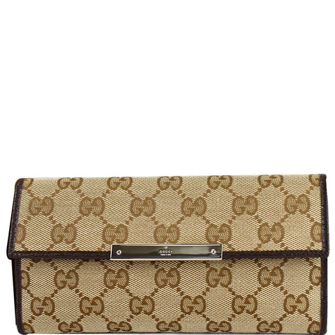 GUCCI GG Supreme Continental Flap Wallet Beige/Brown 112715