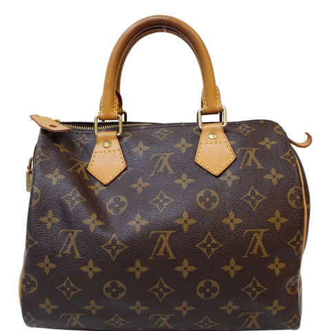 LOUIS VUITTON Speedy 25 Monogram Canvas Satchel Bag Brown