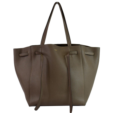 CELINE Small Cabas Phantom Grained Calfskin Leather Tote Bag Taupe
