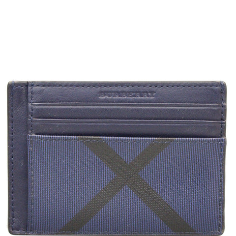 BURBERRY London Check Money Clip Card Case Navy/Black