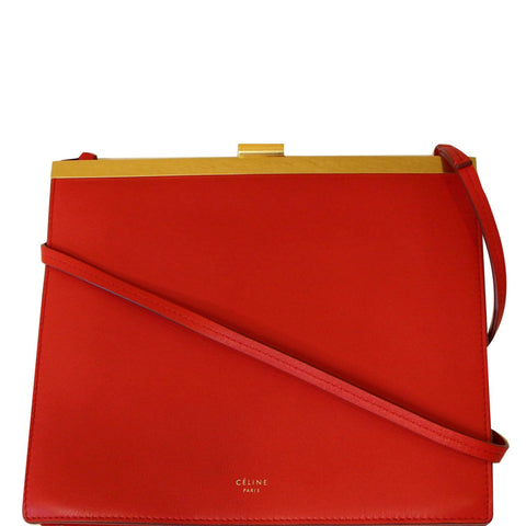 CELINE Mini Clasp Smooth Calfskin Leather Crossbody Bag Red