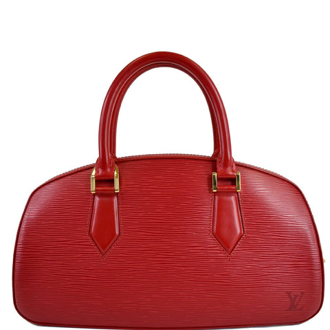 LOUIS VUITTON Jasmine Epi Leather Satchel Bag Red