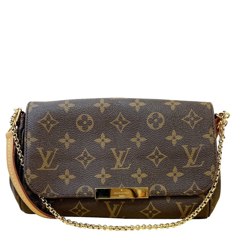 LOUIS VUITTON Favorite PM Monogram Canvas Shoulder Bag Brown