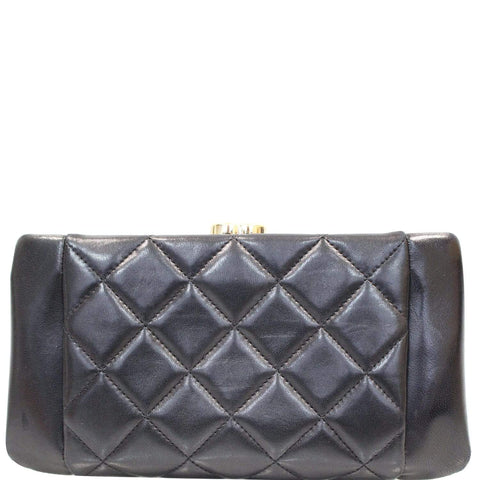 CHANEL Timeless CC Lock Lambskin Leather Clutch Bag Black