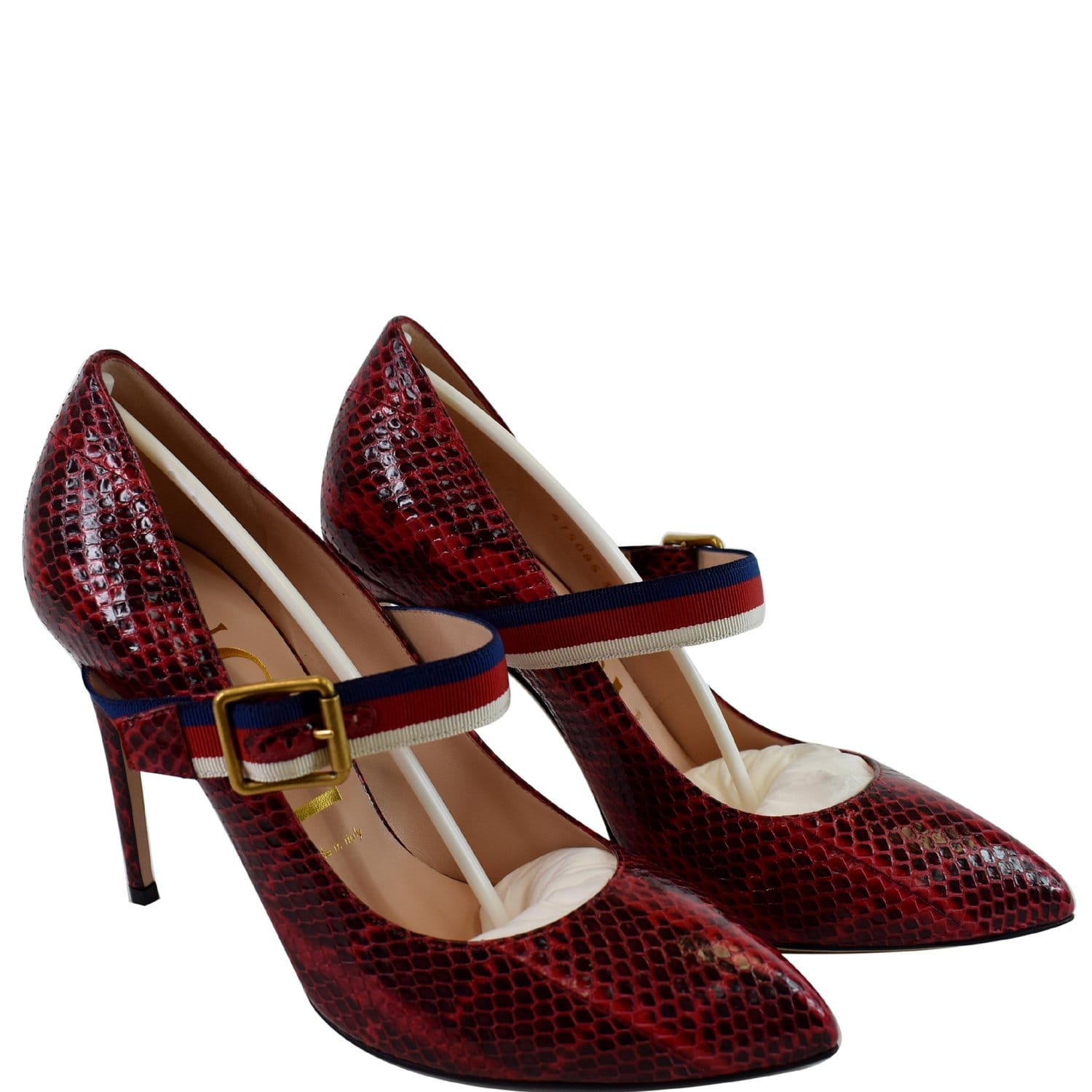 GUCCI Sylvie Python Leather Pumps Red Size 39