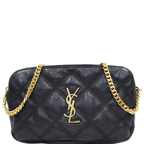 YVES SAINT LAURENT Becky Double Zip Lambskin Leather Crossbody Bag Black