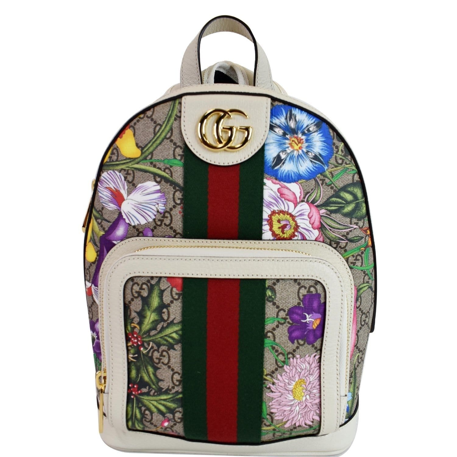 GUCCI Ophidia GG Flora Small Supreme Canvas Backpack Bag Beige 547965