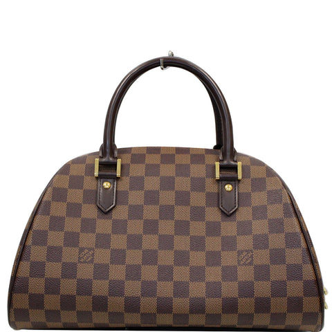 LOUIS VUITTON Ribera MM Damier Ebene Satchel Bag Brown