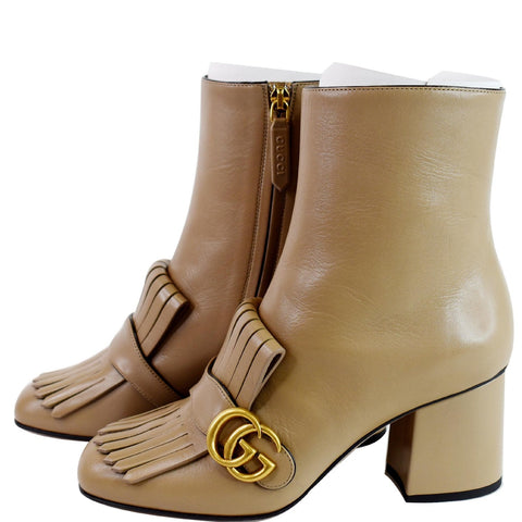GUCCI GG Marmont Fringed Leather Ankle Boots Taupe 408210 US 8
