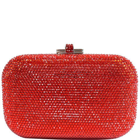 JUDITH LEIBER Slide Lock Crystal Chain Clutch Bag Red