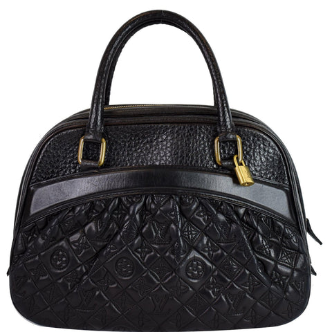 LOUIS VUITTON Mizi Vienna Monogram Leather Satchel Bag Black