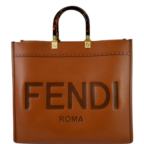 FENDI Sunshine Plexiglass Medium Leather Shopper Tote Bag Brown