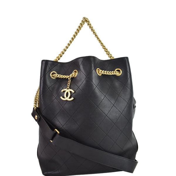 CHANEL On My Shoulder Quilted Leather Drawstring Bag Black
