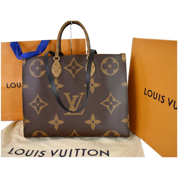 Louis Vuitton Onthego GM Reverse Monogram Canvas Bag - full front view