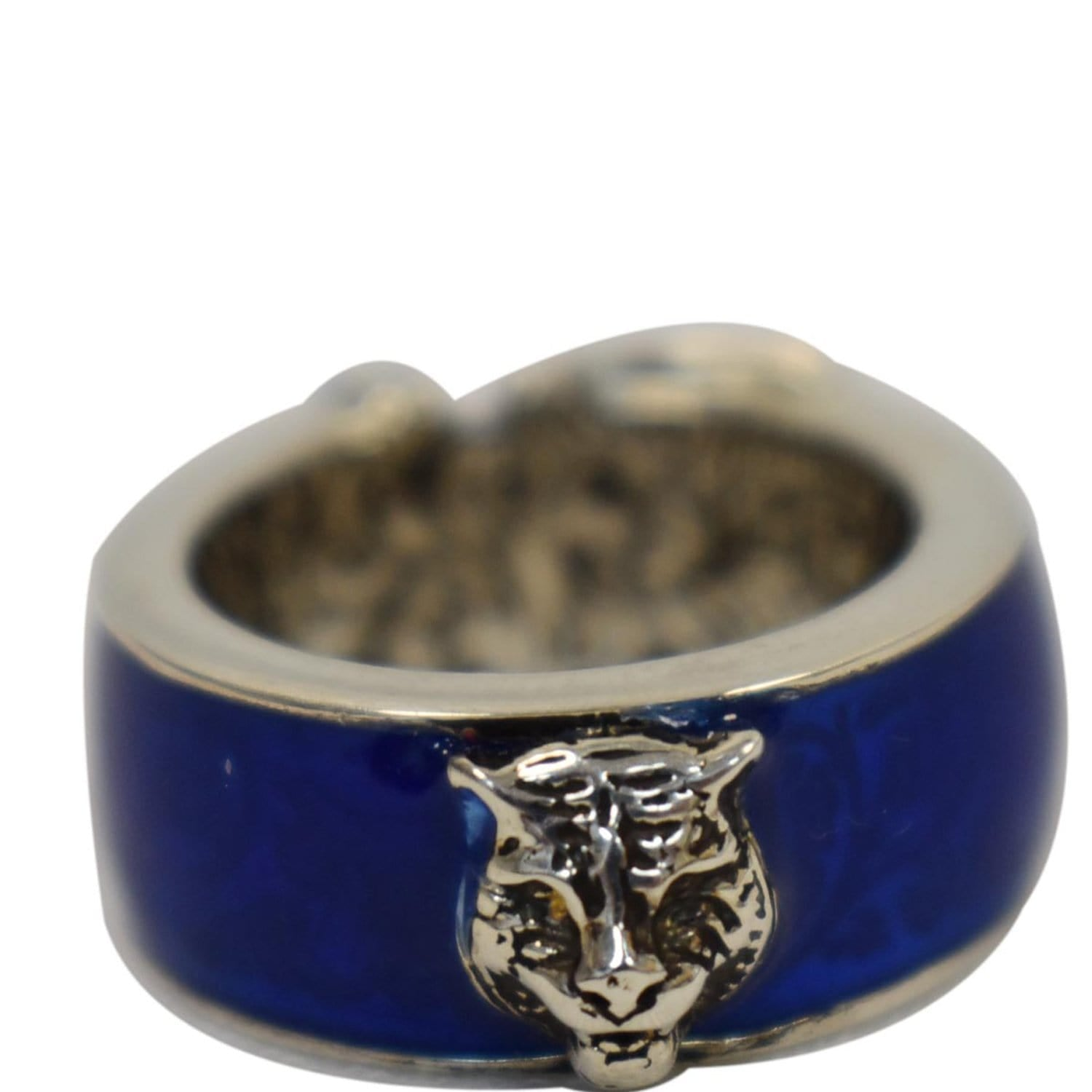 GUCCI Sterling Silver Enamel Buckle Ring Blue Size US 5