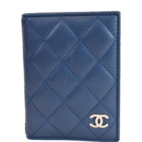 CHANEL Classic Folded Leather Card Holder Wallet Blue