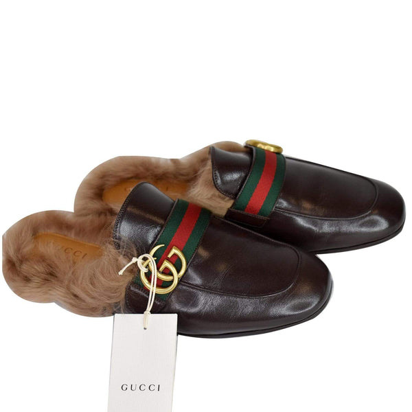 Gucci Princetown Fur Leather Slipper Cocoa Brown - top view