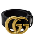 Gucci Double G Buckle Leather Belt Men Size 34 Black