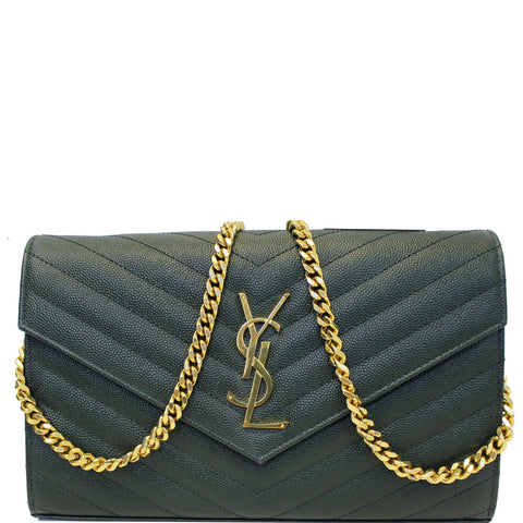 YVES SAINT LAURENT Chevron Grain De Poudre Envelope Chain Bag Olive Green