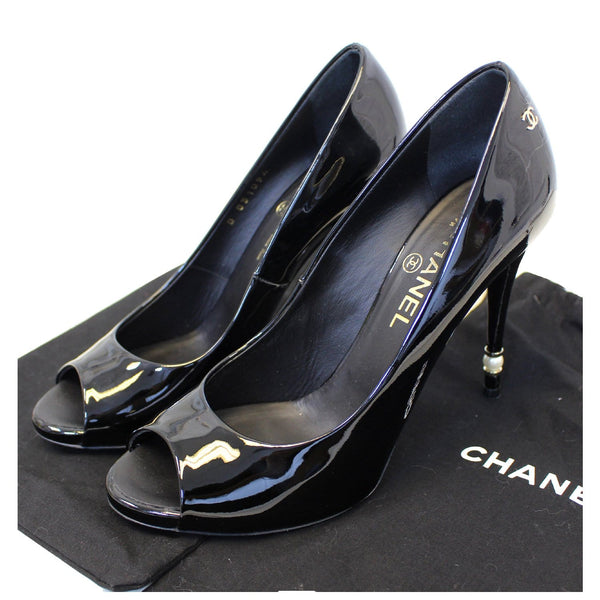 CHANEL Black Leather Open Toe Pumps 39.1/2 Black-US