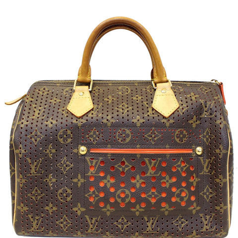 LOUIS VUITTON Speedy 30 Monogram Perforated Satchel Bag Orange