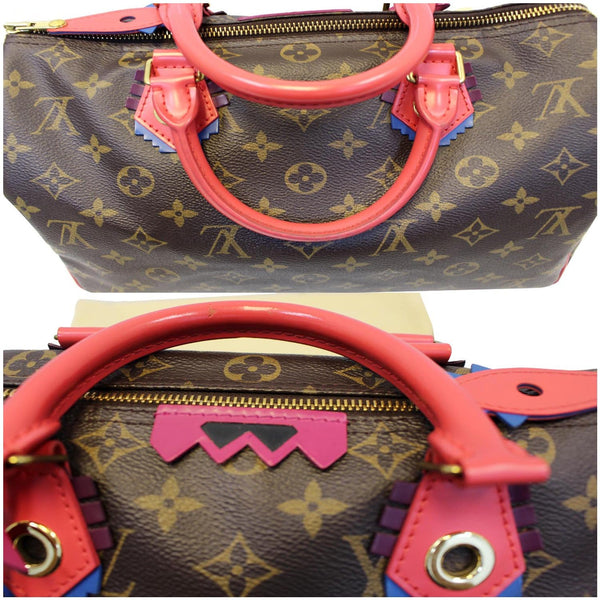 Front View lv Totem Speedy 30 Monogram Canvas Satchel