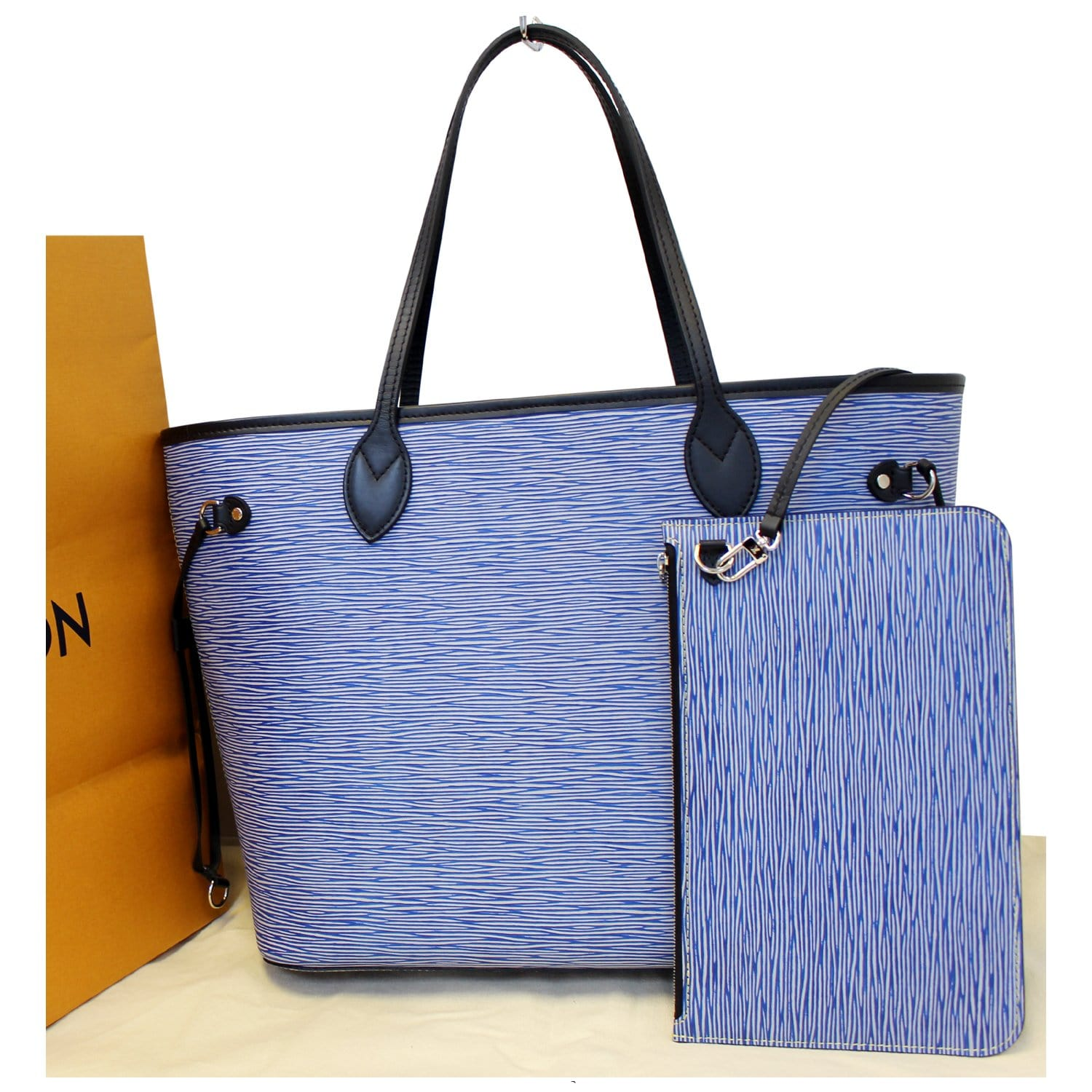 24db28283dc0 Louis Vuitton Neverfull MM Epi Leather Denim Blue Tote Bag w Pouch