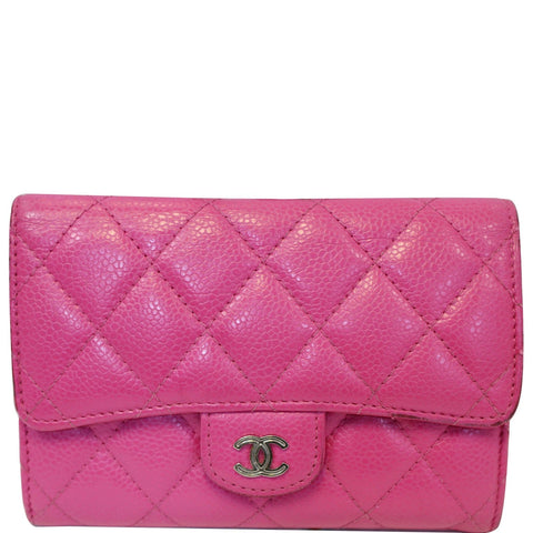 CHANEL Classic Flap Caviar Leather Wallet Pink
