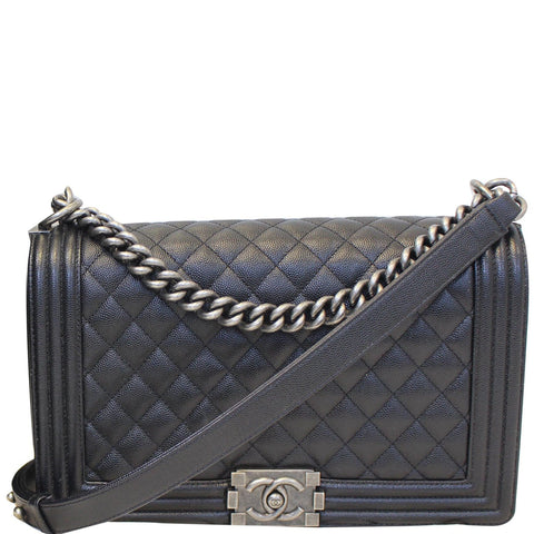 CHANEL Medium Boy Flap Caviar Leather Shoulder Bag Black