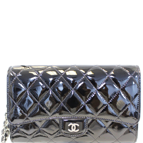 CHANEL Patent Leather Flap Shoulder Bag Black-US