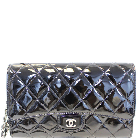 CHANEL Patent Leather Flap Shoulder Bag Black